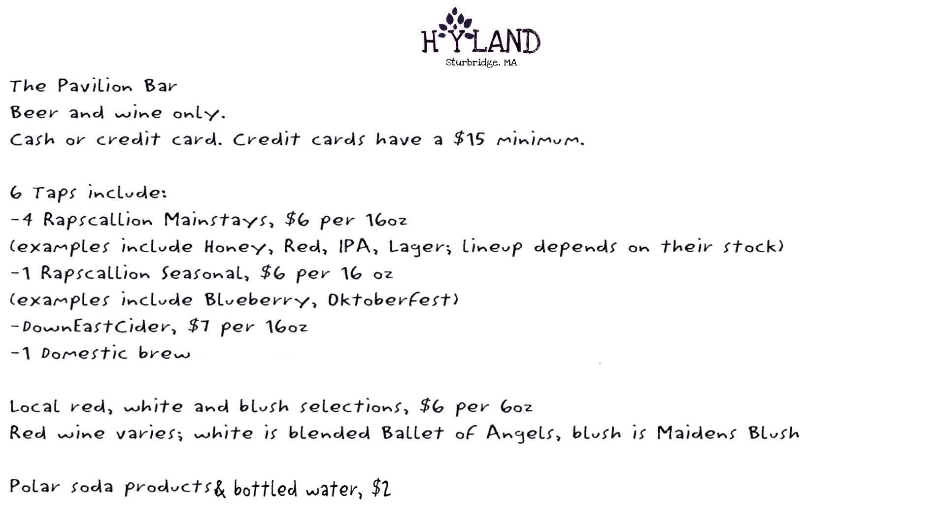 Bar Options | Hyland Orchard